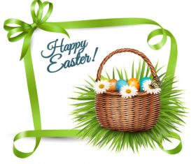 Green bow decoration easter card vector