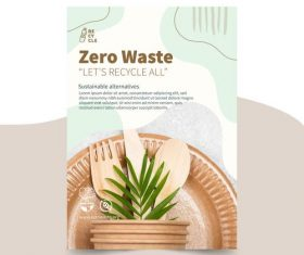 Green environmental protection tableware vector