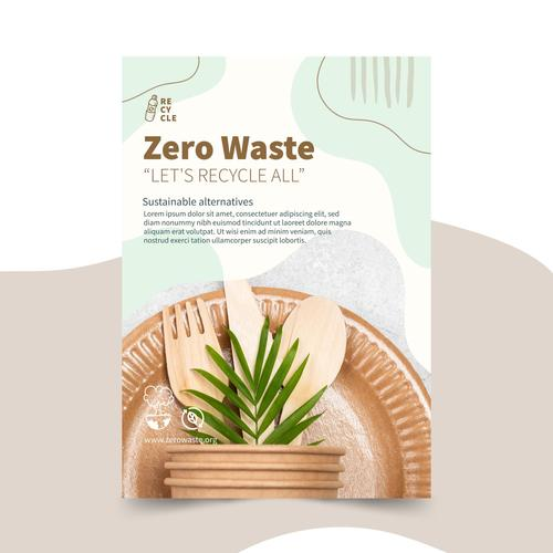 Green environmental protection tableware vector