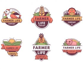Green farm logos design vector