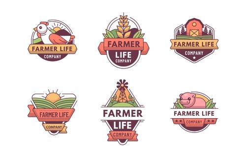 Green farm logos design vector