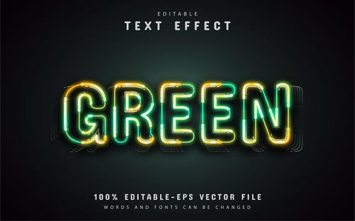 Green neon text effect vector