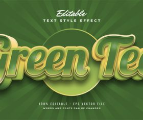 Green tea editable font vector
