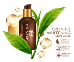 Green tea oil plant essence vector
