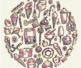 Hand draw sketch doodle sweets candy ice cream design vector