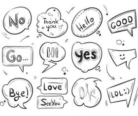 Hand drawn comic speech bubbles vector