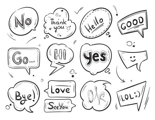 Hand drawn comic speech bubbles vector