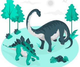 Hand drawn dinosaur illustration vector