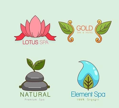 Hand drawn spa logotypes vector