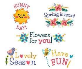 Hand-drawn spring badge collection vector
