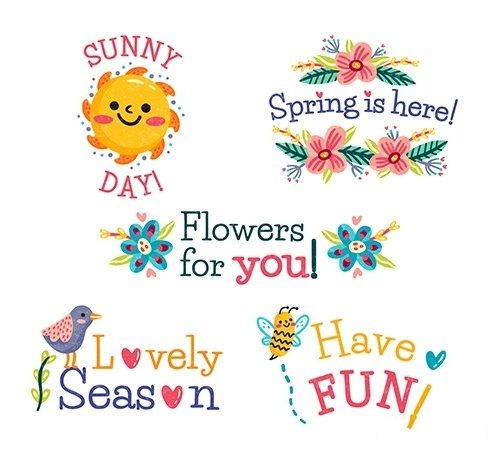 Hand drawn spring badge collection vector