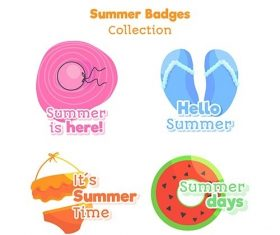 Hand-drawn summer badge collection vector