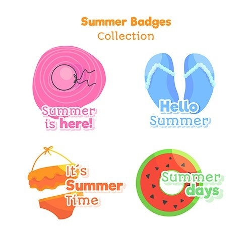 Hand drawn summer badge collection vector