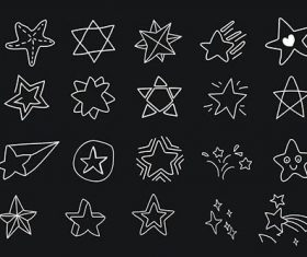 Hand drawn white star vectors collection