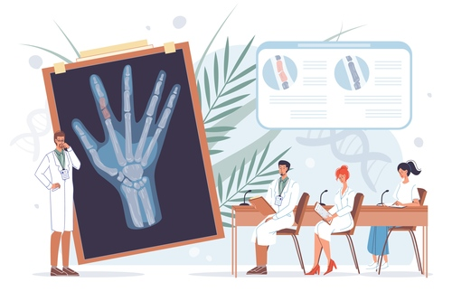 Hand medical lecture vector