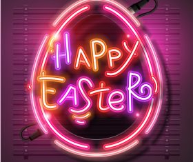 Happy Neon Easter Egg Vector