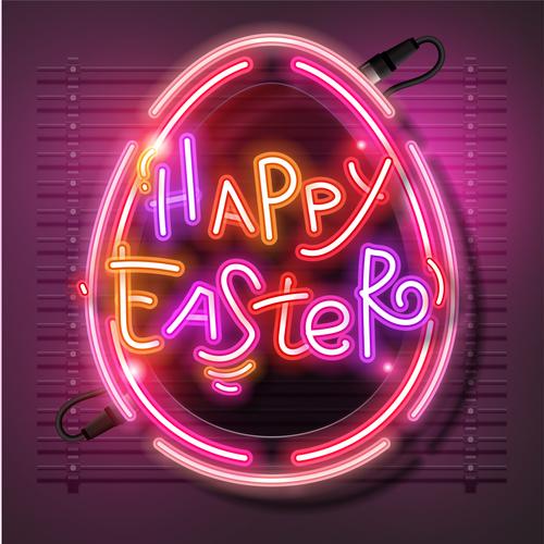 Happy Neon Easter Egg Vector