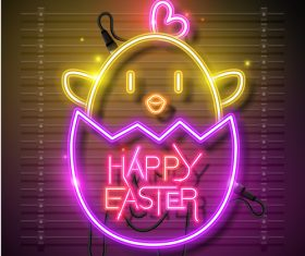 Happy easter design banner with neon eggs vector