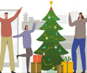 Happy family celebrate christmas illustration vector