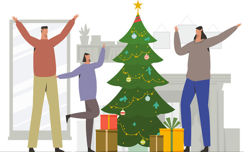 Happy family celebrate christmas illustration vector