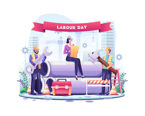 Happy labor day for the workers vector