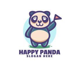 Happy panda logo vector