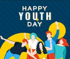 Happy youth day cartoon illustration vector