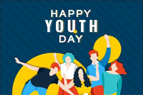 Happy youth day cartoon illustration vector