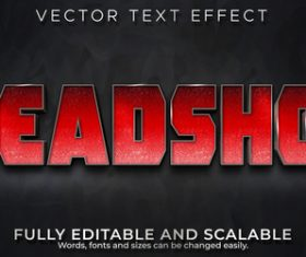 Headshot 3d effect text design vector