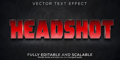 Headshot 3d effect text design vector