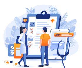 Health checkup cartoon illustration vector