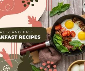 Healthy and fast breakfast recipes youtube template vector