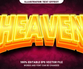 Heaven 3d editable text style effect vector