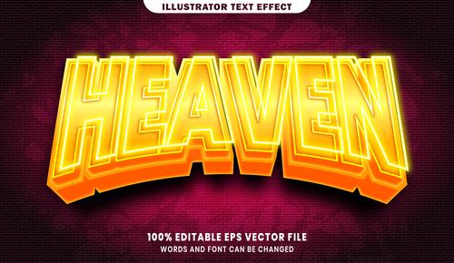 Heaven 3d editable text style effect vector