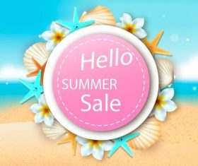 Hello summer sale flyer vector