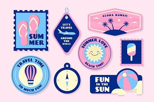 Holidays summer sticker collection 70s style vector
