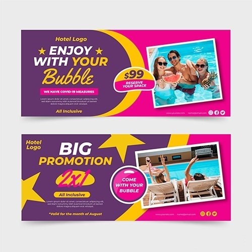 Hotel banner template with photo vector