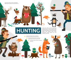Hunting flat cartoon illustration vector
