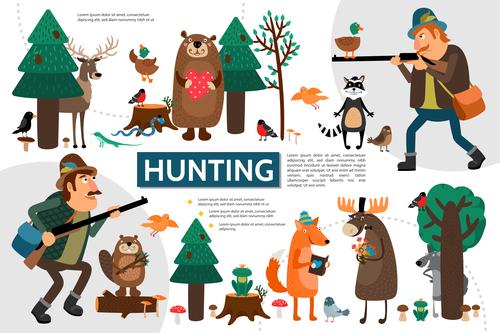 Hunting flat cartoon illustration vector