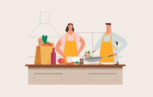 Husband and wife cooking together illustration vector