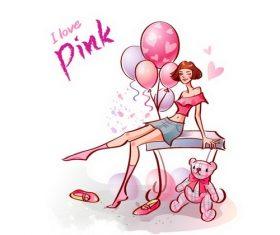 I love pink illustration vector