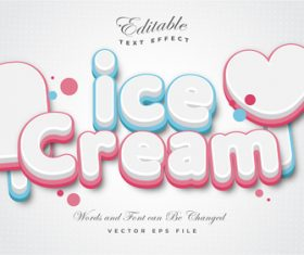 Ice cream text effect vector