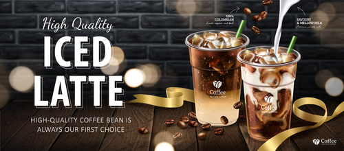 Iced latte promotional flyer vector
