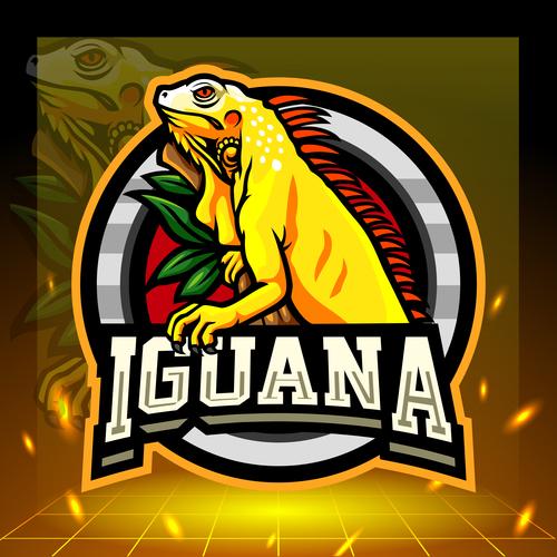 Iguana mascot emblem vector