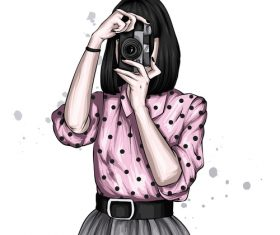 Illustration girl taking photo vector