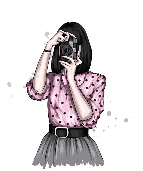 Illustration girl taking photo vector