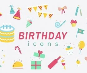 Illustration set of birthday icons vector