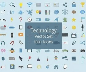 Illustration set of technology icons vector