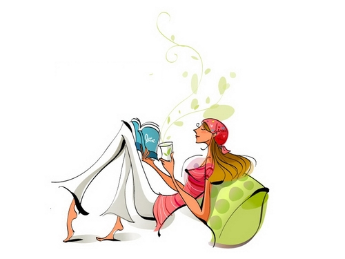 Illustration vector of a girl drinking coffee and reading a book