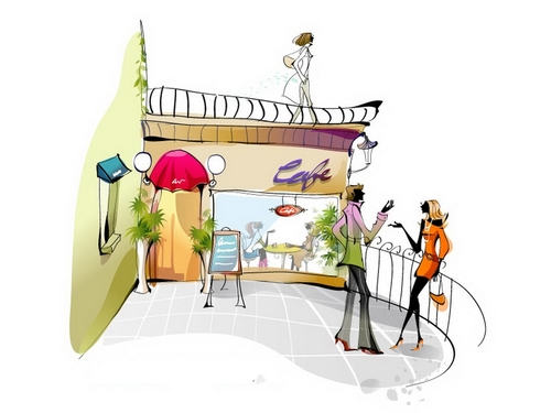 Illustration vector of men and women chatting on the balcony